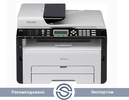 МФУ Ricoh SP 212SFNw 1200x600 / A4 / 22 ppm / Printer+Scaner+Copier+Fax / USB