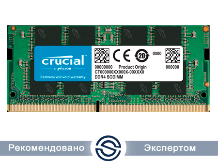 Оперативная память для ноутбука 16Gb DDR4 2666 MHz Crucial PC4-21300 SO-DIMM CL=19 Unbuffered NON-ECC DDR4-2666 1.2V  2048Megx64 CT16G4SFRA266