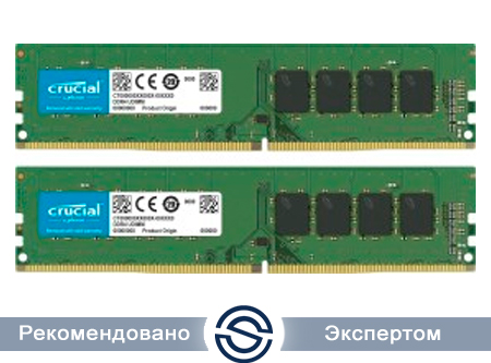 Оперативная память 32GB Kit (2x16Gb) DDR4 2666MHz Crucial PC4-21300 CL=19  19-19-19 Unbuffered NON-ECC 1.2V CT2K16G4DFRA266