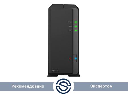 Система хранения данных Synology DiskStation DS118 / 1xHDD / 1 GB DDR4 / Realtek RTD1296 1.4 GHz