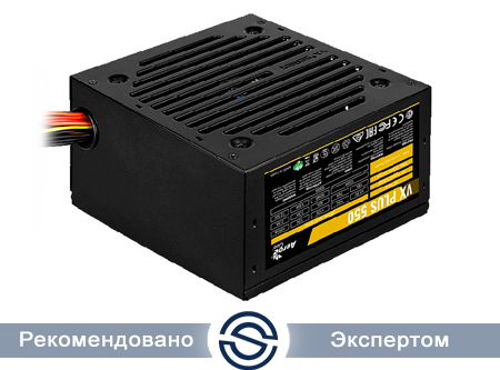 Блок питания 550W Aerocool VX PLUS 550, ATX, 20+4 pin, 4+4pin, 3*Sata, 3*Molex, 1*FDD, 1*PCI-E 6 pin, Fan 12 см